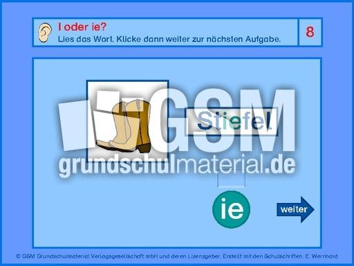 I oder ie - Selbstlaute - Rechtschreiben - Deutsch Klasse 2 - Grundschulmaterial.de