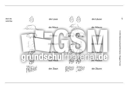 aus au wir u00e4u 1-3 - u00dcbungen - Rechtschreibung - VARIO-karten - Deutsch Klasse 2 ...
