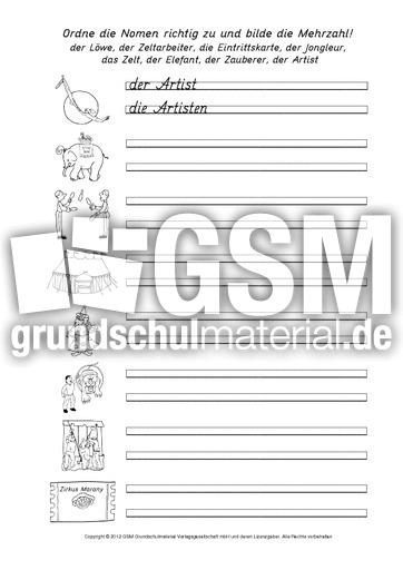 Arbeitsblätter Nomen Einzahl Mehrzahl : Zirkuswörter nomen einzahl mehrzahl arbeitsblätter