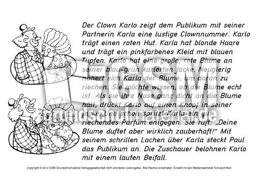 Zirkus-Lesetexte-ausmalen-1-6 - Lese-Schreibu00fcbungen ...