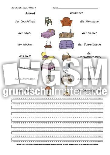 Arbeitsblatt-Haus-Möbel 1 - Arbeitsblätter-Haus-Wohnung - Werkstatt ...