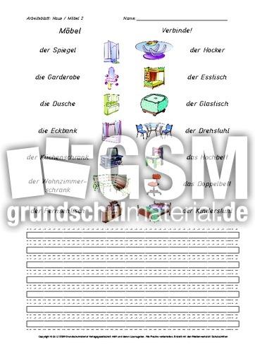 Arbeitsblatt Haus Möbel 2   Arbeitsblätter Haus Wohnung