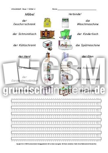 Arbeitsblatt-Haus-Möbel 4 - Arbeitsblätter-Haus-Wohnung - Werkstatt ...