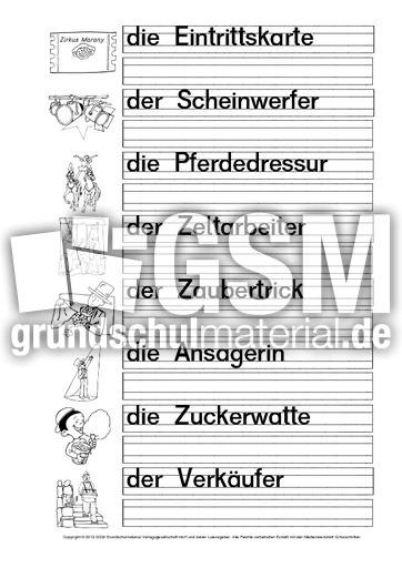 Zirkuswu00f6rter-Druckschrift-1-6 - Arbeitsblu00e4tter-Zirkus - Werkstatt-Zirkus-Klasse 1-4 - Werkstatt ...