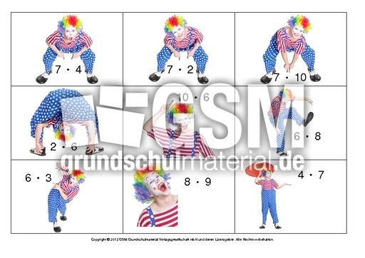 kopfrechenkarten clown einmaleins 1 10 rechen bungen zirkus 2 werkstatt zirkus klasse 1 4. Black Bedroom Furniture Sets. Home Design Ideas