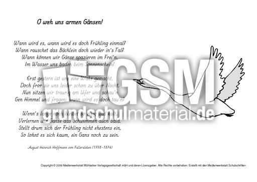 M-O weh uns armen Gu00e4nsen-Fallersleben - H.v.Fallersleben ...