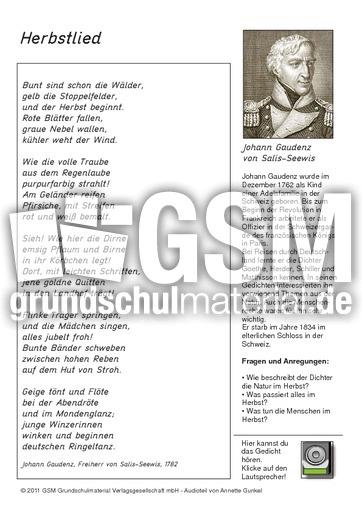 Herbstlied - multimediale Arbeitsblätter - Gedichte mit Ton ...