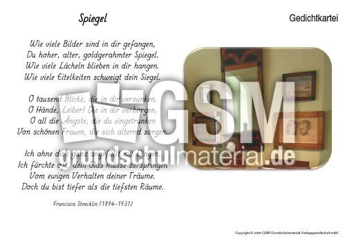 spiegel stoecklin kartei gedichte allgemein gedichte kartei werkstatt deutsch klasse 3. Black Bedroom Furniture Sets. Home Design Ideas