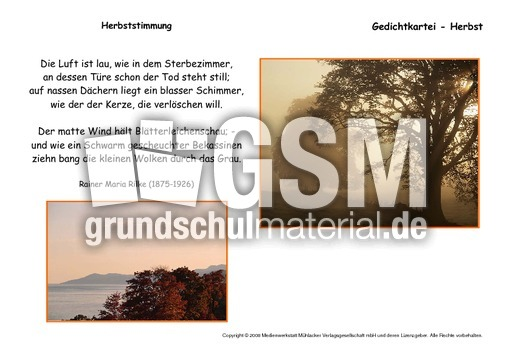 arbeitsblatt vorschule 187 herbstgedicht 3 klasse foto