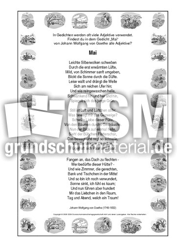 Adj Mai Goethe Adjektive Frühlingsgedichte Werkstatt