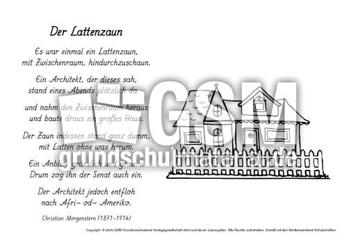 Gedicht Der Lattenzaun : m der lattenzaun morgenstern ausmalbilder werkstatt ~ Lizthompson.info Haus und Dekorationen