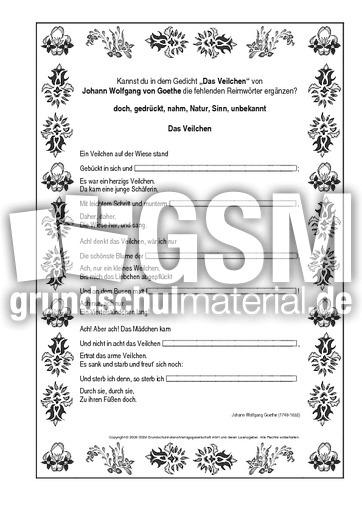 Reimwörter Das Veilchen Goethe Reimwörter Werkstatt