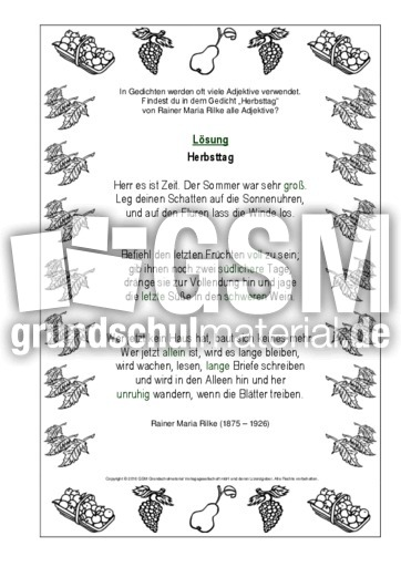Adjektive Herbsttag Rilke Lo Adjektive Herbstgedichte Werkstatt