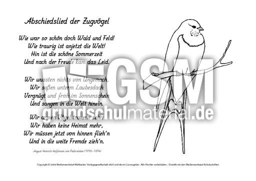 M Abschiedslied Der Zugvögel Fallersleben Ausmalbilder