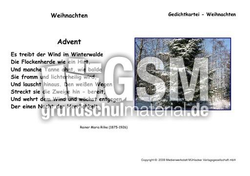 Advent Rilke Kartei Weihnachtsgedichte Werkstatt