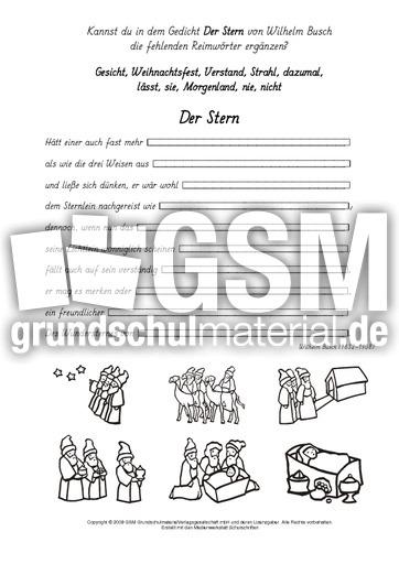 Weihnachtsgedichte Von Wilhelm Busch.Reimwörter Der Stern Busch Reimwörter Weihnachtsgedichte