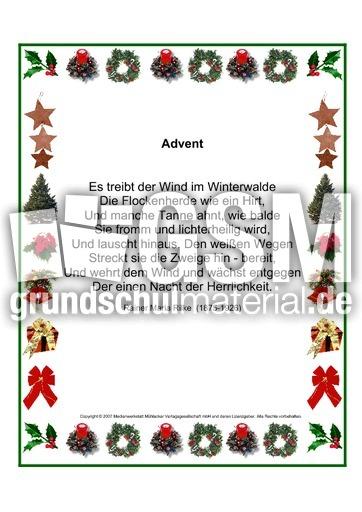Advent Rilke Weihnachtsgedichte Schmuckrahmen Werkstatt
