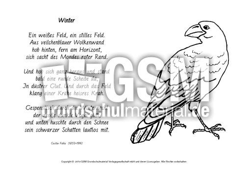 Winter Falke Ausmalen Ausmalbilder Wintergedichte Werkstatt