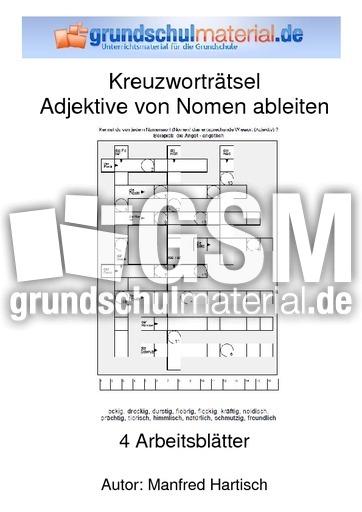 Kreuzworträtsel Adjektiv vom Nomen ableiten - Übungen - Adjektive ...