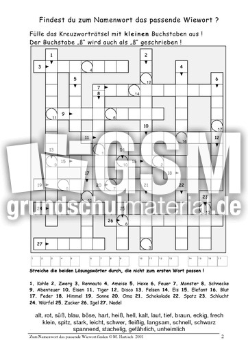 kreuzwortr tsel adjektive nomen zuordnen 2 bungen adjektive grammatik deutsch klasse 3. Black Bedroom Furniture Sets. Home Design Ideas