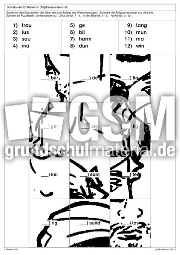 lesepuzzle adjektive bungen adjektive grammatik deutsch klasse 3. Black Bedroom Furniture Sets. Home Design Ideas
