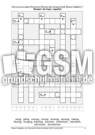 Kreuzwortru00e4tsel Adjektiv vom Nomen ableiten - u00dcbungen - Adjektive - Grammatik - Deutsch Klasse 3 ...