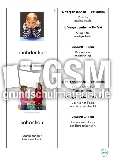 Kartei-Verben-Heft 1 - Grammatik Fachbegriffe - Grammatik - Deutsch Klasse 3 - Grundschulmaterial.de