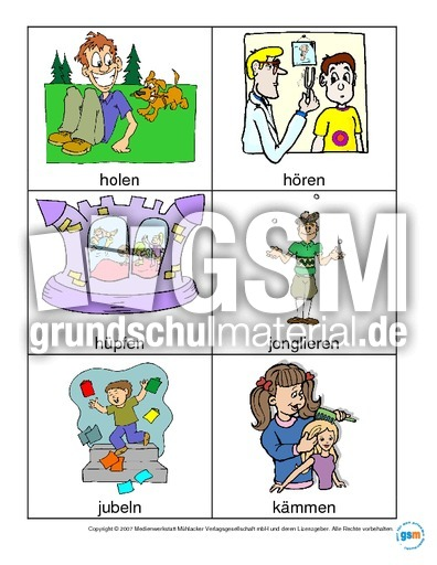 Wort-Bild-Karten Verben Teil 2 - Grammatik Fachbegriffe ...