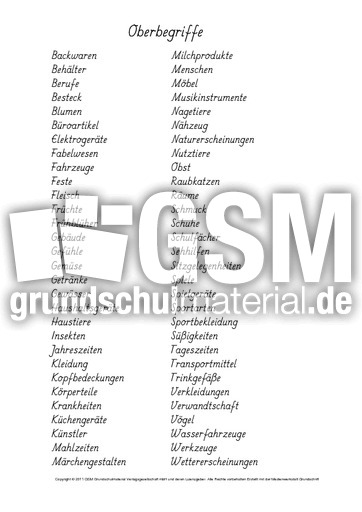 1 Liste Obergegriffe Oberbegriffe Suchen Nomen Grammatik
