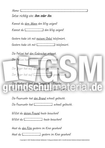 Pronomen-ihm-ihn-AB-1-7 - Pronomen - Grammatik - Deutsch Klasse 3 ...