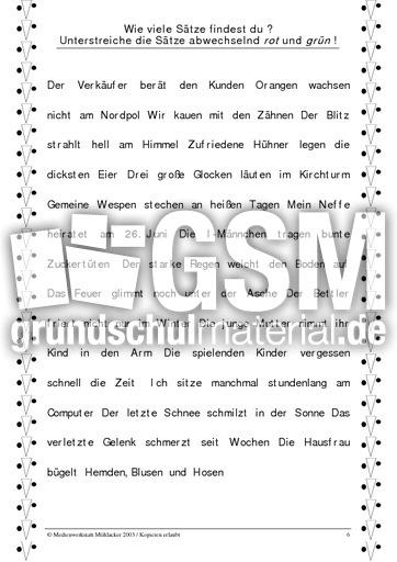 Satz erkennen - Sätze - erkennen - Satzanalyse - Grammatik - Deutsch ...