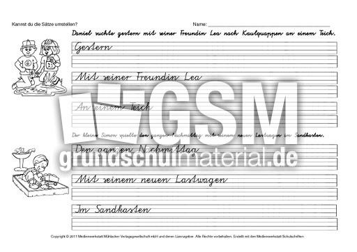 s tze umstellen va 1 20 s tze umstellen satzanalyse grammatik deutsch klasse 3. Black Bedroom Furniture Sets. Home Design Ideas