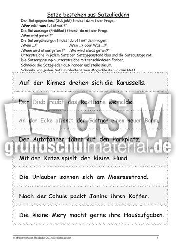 satzglieder 2 6 bungen satzglieder satzanalyse grammatik deutsch klasse 3. Black Bedroom Furniture Sets. Home Design Ideas