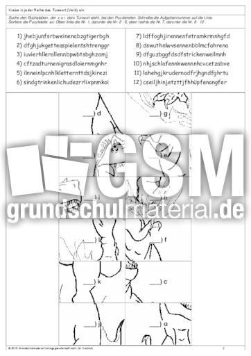 verben puzzle 1 bungen arbeitsbl tter verben grammatik deutsch klasse 3. Black Bedroom Furniture Sets. Home Design Ideas