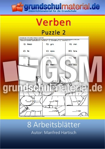 verben puzzle 2 bungen arbeitsbl tter verben grammatik deutsch klasse 3. Black Bedroom Furniture Sets. Home Design Ideas