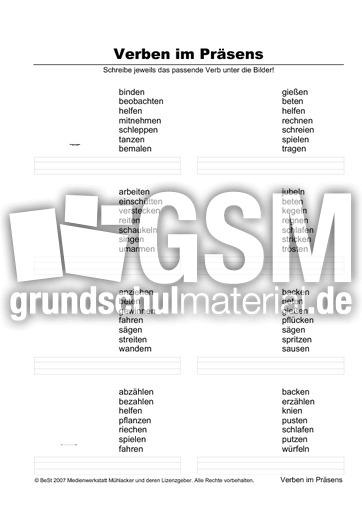 verben zuordnen 5s 16 pr sens zuordnen arbeitsbl tter verben grammatik deutsch klasse. Black Bedroom Furniture Sets. Home Design Ideas