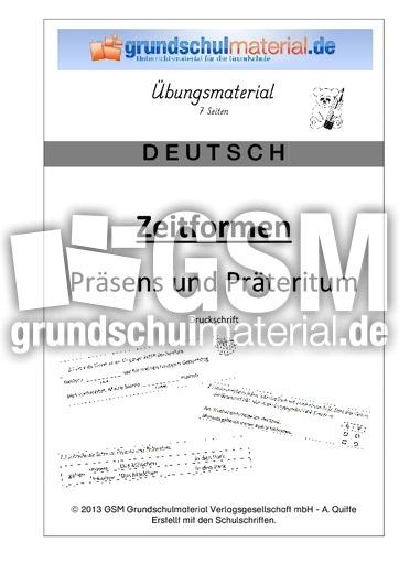 Heft Präsens Präteritum - Druck - Präteritum - Arbeitsblätter ...