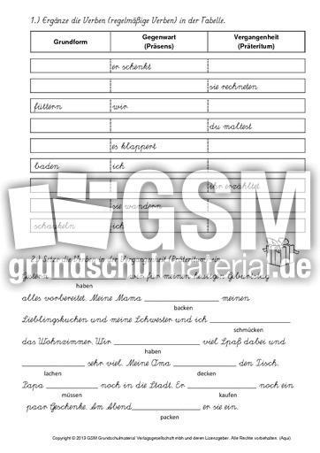 heft pr sens pr teritum lat aus pr teritum arbeitsbl tter verben grammatik deutsch. Black Bedroom Furniture Sets. Home Design Ideas