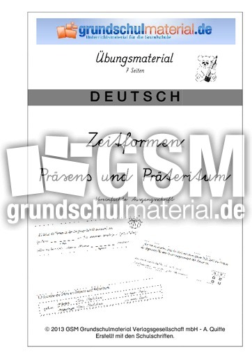 heft pr sens pr teritum veraus pr teritum arbeitsbl tter verben grammatik deutsch. Black Bedroom Furniture Sets. Home Design Ideas