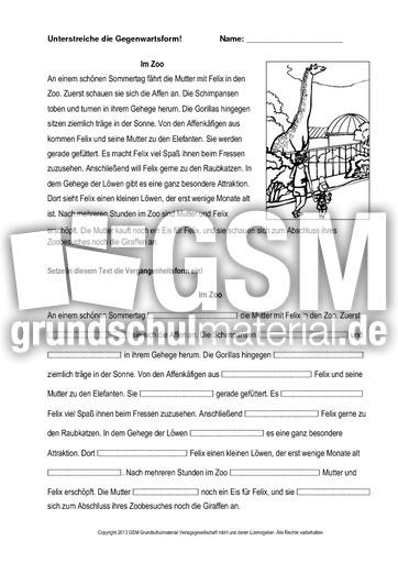 im zoo 1 vergangenheit einsetzen druck zeitformen ben verben grammatik deutsch klasse. Black Bedroom Furniture Sets. Home Design Ideas