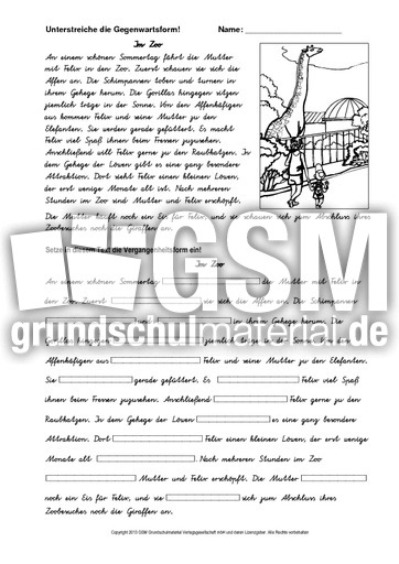 im zoo 1 va vergangenheit einsetzen va zeitformen ben verben grammatik deutsch klasse. Black Bedroom Furniture Sets. Home Design Ideas