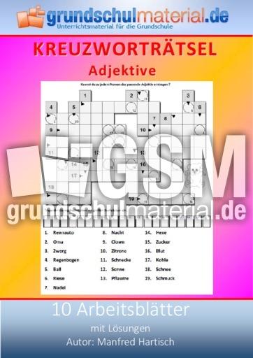 Adjektive - Kreuzworträtsel - Deutsch Klasse 3 - Grundschulmaterial.de