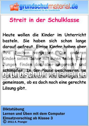Diktat - Streit in der Schulklasse - Diktatu00fcbungen ...