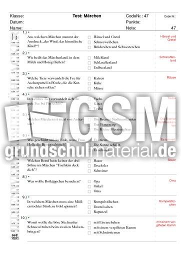 Mu00e4rchen - Schnelltests - Lernstandserhebung - Deutsch ...