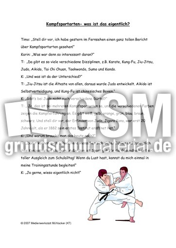 judo sachtext sachtexte lese bungen deutsch klasse 3. Black Bedroom Furniture Sets. Home Design Ideas