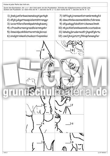 lesepuzzle verben lese puzzle lesen deutsch klasse 3. Black Bedroom Furniture Sets. Home Design Ideas