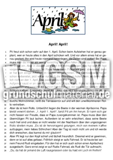 arbeitsblatt vorschule 187 lesetest 4 klasse deutsch