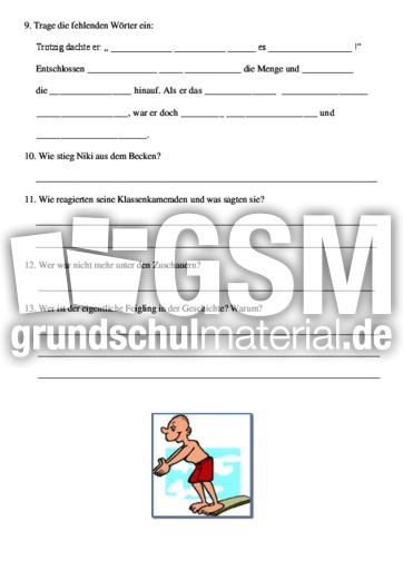 Ein wohlu00fcberlegter Sprung - Lese-Aufgaben-Mappen - Lesen ...