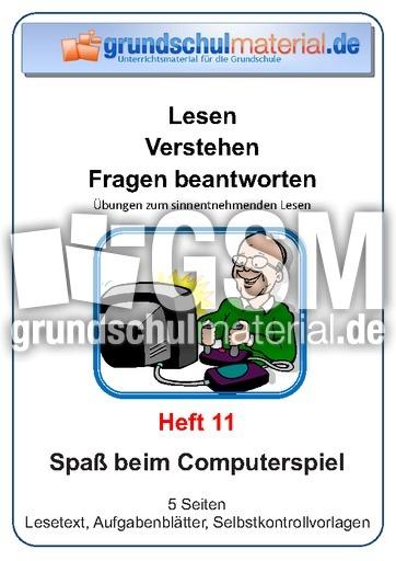 Spau00df beim Computerspiel - Lese-Aufgaben-Mappen - Lesen ...
