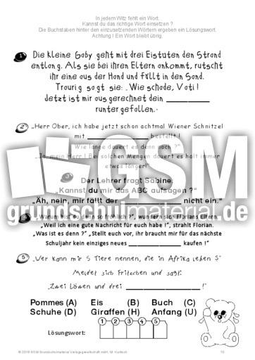 Lückenwitze_A - Lückenwitze - Lesegenauigkeit schulen - Lesen ...